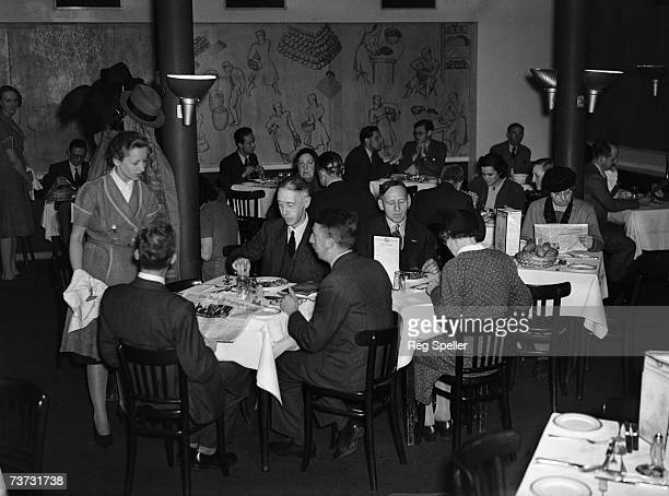 Diners at Vega Modern, a vegetarian restaurant in London's Leicester Square, June 1942.