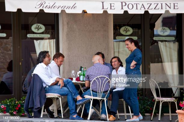 Diners eat al fresco at restaurant and bar Ristorante Le Potazzine in Montalcino Val D'OrciaTuscany Italy