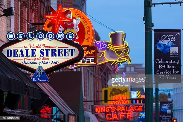 Diners music venues in legendary Beale Street entertainment district famous for Rock and Roll and Blues Memphis Tennessee USA