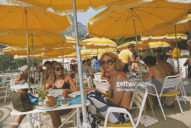 Diners on a cafe terrace in Monte Carlo Monaco August 1975