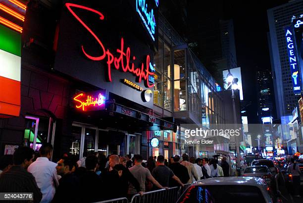 Diners perform songs of their choice at the new Karaoke themed restaurant 'Spotlight Live' in New york CityThe Restaurant opens on the back of...