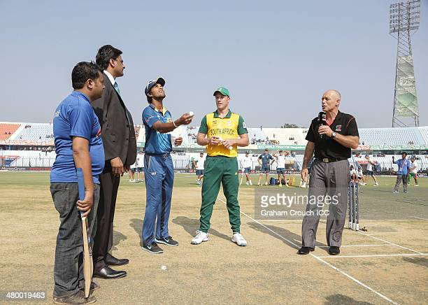 Dinesh Chandimal captain of Sri Lanka and AB de Villiers captain of South Africa with match referee Javagal Srinath Pepsi mascot Rashid and...