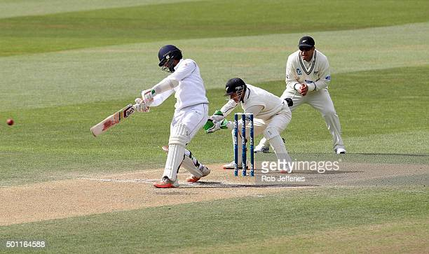 Dinesh Chandimal of Sri Lanka bats during day four of the First Test match between New Zealand and Sri Lanka at University Oval on December 13, 2015...