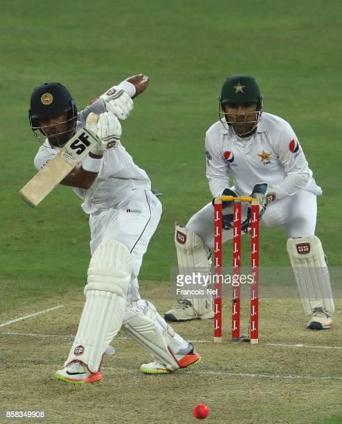 Dinesh Chandimal of Sri Lanka bats during Day One of the Second Test between Pakistan and Sri Lanka at Dubai International Cricket Ground on October...