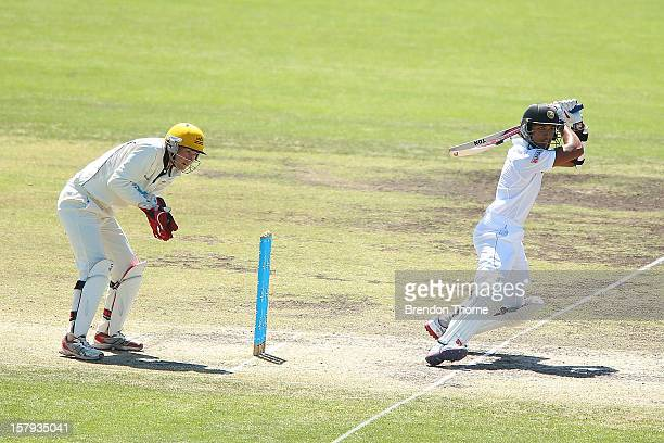 Dinesh Chandimal of Sri Lanka bats during day three of the international tour match between the Chairman's XI and Sri Lanka at Manuka Oval on...