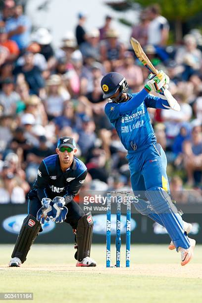 Dinesh Chandimal of Sri Lanka bats during game five of the One Day International series between New Zealand and Sri Lanka at Bay Oval on January 5,...
