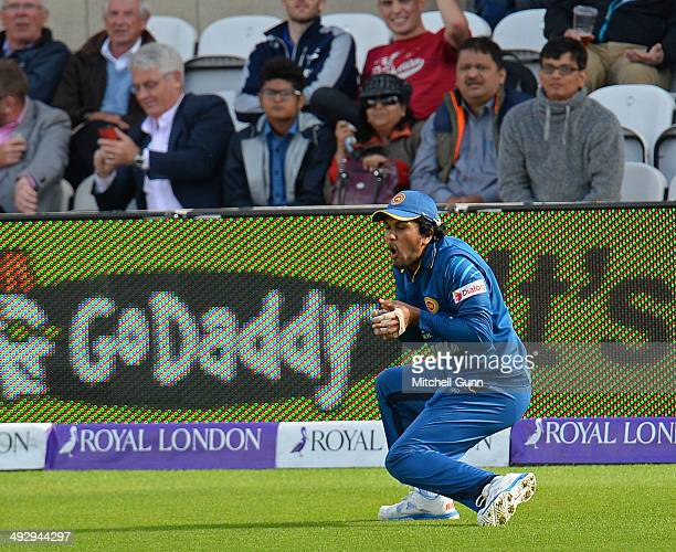 Dinesh Chandimal of Sri Lanka catches the ball to dismiss Gary Ballance of England during the England v Sri Lanka first one day international match...