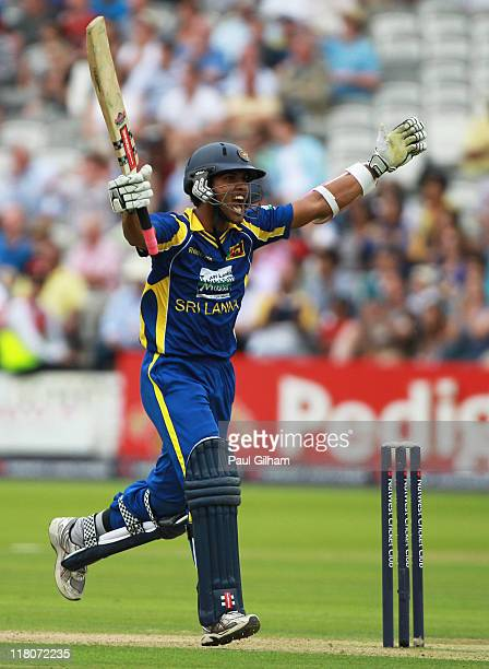 Dinesh Chandimal of Sri Lanka celebrates making a century during the 3rd Natwest One Day International Series match between England and Sri Lanka at...