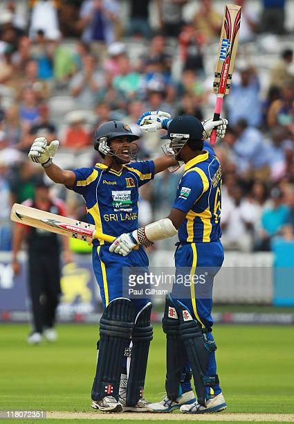 Dinesh Chandimal of Sri Lanka celebrates with Angelo Mathews as Sri Lanka win the 3rd Natwest One Day International Series match between England and...