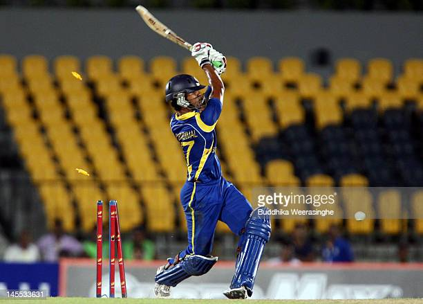Dinesh Chandimal of Sri Lanka is bowled out during the 1st match of the T20 series between Sri Lanka and Pakistan at the Mahinda Rajapaksa...