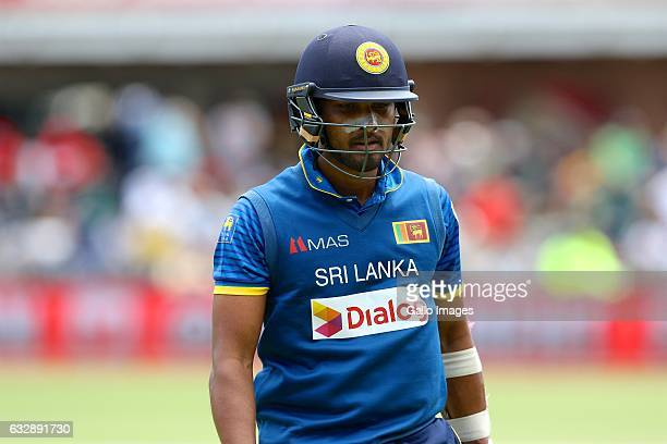 Dinesh Chandimal of Sri Lanka leaves the field during the 1st One Day International match between South Africa and Sri Lanka at St Georges Park on...