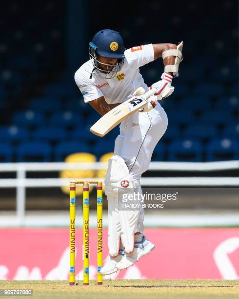 Dinesh Chandimal of Sri Lanka plays during day 3 of the 1st Test between West Indies and Sri Lanka at Queen's Park Oval, Port of Spain, Trinidad, on...