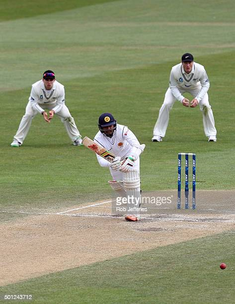 Dinesh Chandimal of Sri Lanka plays through the onside during day five of the First Test match between New Zealand and Sri Lanka at University Oval...