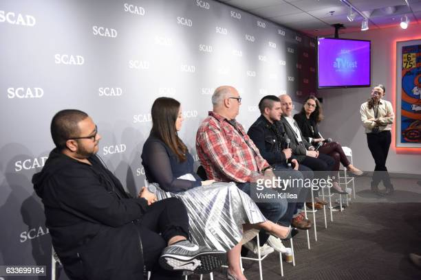 Dinesh Dave Meagan Cignoli Dan Furguson Benjamin Lebovitz Freddy James Jaclyn Cannon and Scot Safon speak at The Near Future of Media panel during...