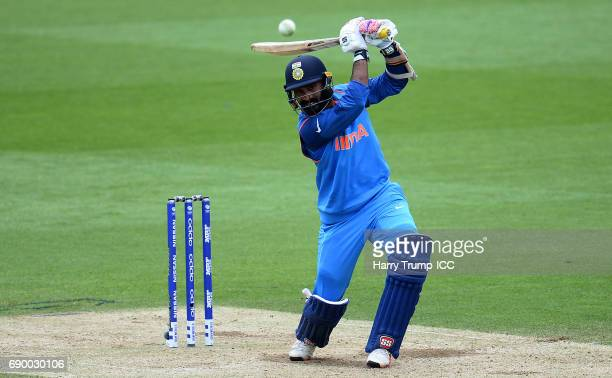 Dinesh Karthik of India bats during the ICC Champions Trophy Warmup match between India and Bangladesh at the Kia Oval on May 30 2017 in London...