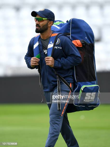 Dinesh Karthik of India during a nets session at Trent Bridge on August 16 2018 in Nottingham England