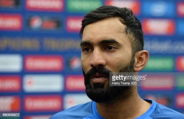 Dinesh Karthik of India during the ICC Champions Trophy Warmup match between India and Bangladesh at the Kia Oval on May 30 2017 in London England