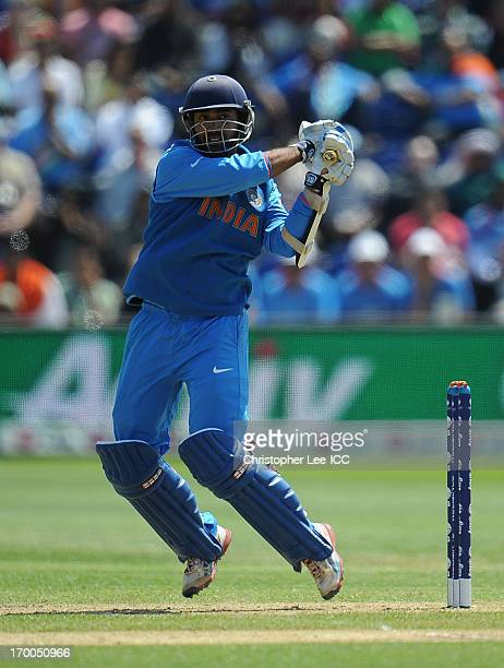 Dinesh Karthik of India in action during the ICC Champions Trophy group B match between India and South Africa at Cardiff Stadium on June 6 2013 in...
