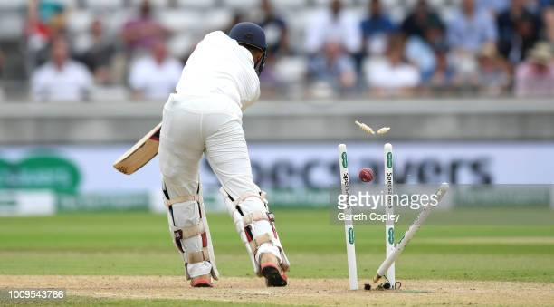Dinesh Karthik of India is bowled by Ben Stokes of Englandduring day two of the Specsavers 1st Test between England and India at Edgbaston on August...