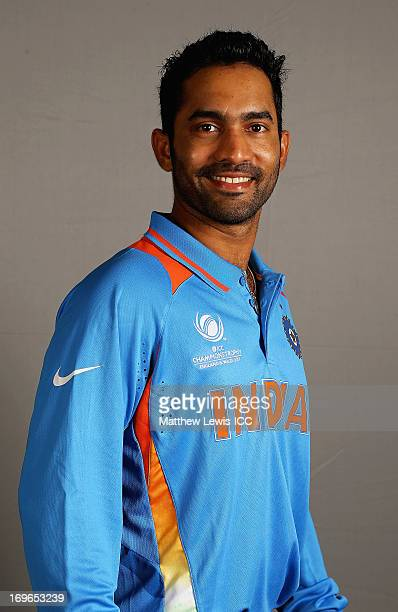 Dinesh Karthik of India poses during an India Portrait Session at the Hyatt Hotel ahead of the ICC Champions Trophy at Edgbaston on May 30 2013 in...