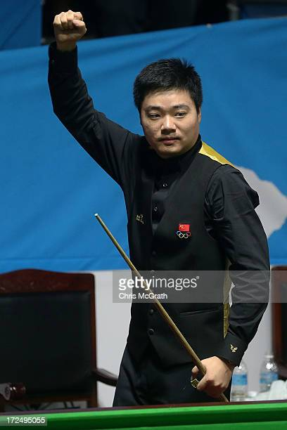 Ding Junhui of China celebrates victory during the Billiards Men's Team Gold Medal Match between China and Independent Olympic Athletes at Songdo...