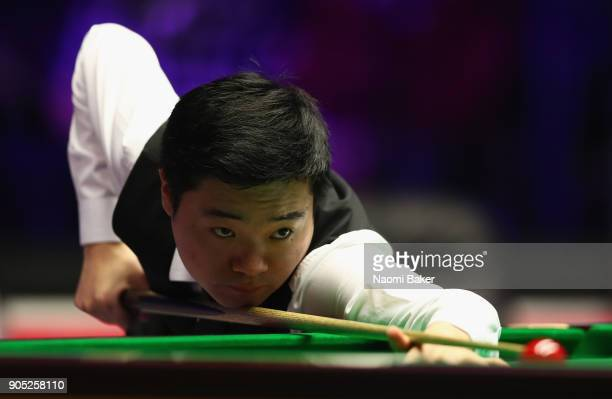 Ding Junhui of China plays a shot during his match against Ryan Day of Wales on day two of The Dafabet Masters at Alexandra Palace on January 15 2018...