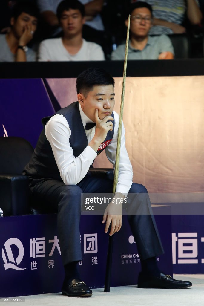 Ding Junhui of China reacts during a qualifying match against Niu Zhuang of China on day one of Evergrande 2017 World Snooker China Champion at Guangzhou Sport University on August 16, 2017 in Guangzhou, Guangdong Province of China.