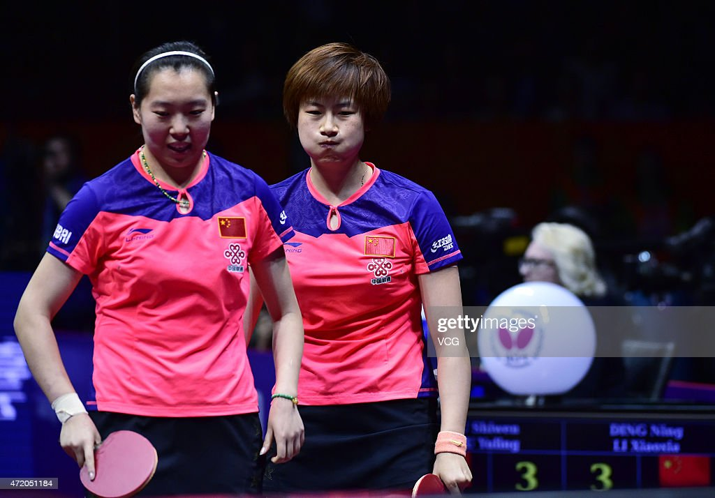Ding ning and li xiaoxia of china react against liu shiwen and zhu news photo getty images - World table tennis championships ...