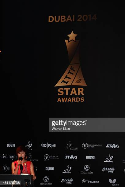Ding Ning of China accepts the Women's Table Tennis Star Award during the ITTF Star Awards at the Armani Hotel at Burj Khalifa on January 7 2015 in...