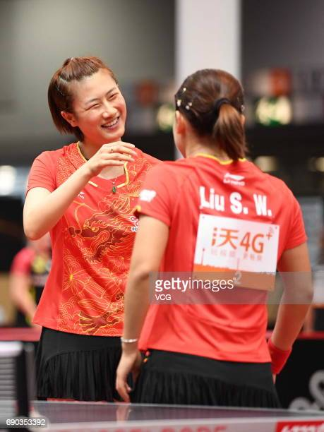 Ding Ning of China and Liu Shiwen of China compete during Women's Doubles first round match on day 2 of 2017 World Table Tennis Championships at...