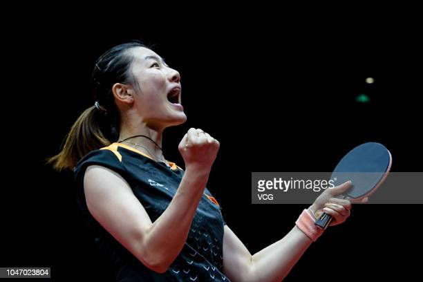 Ding Ning of China celebrates after winning the Women's Singles final match against Zhu Yuling of China on day three of 2018 ITTF Women's World Cup...
