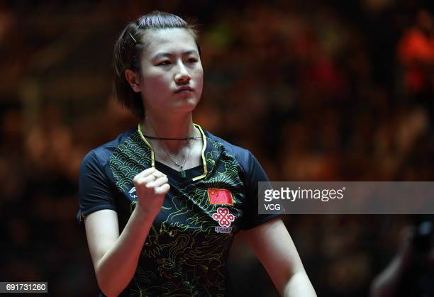 Ding Ning of China celebrates during Women's Singles quarterfinals against Japan's Kasumi Ishikawa on day 5 of World Table Tennis Championships at...