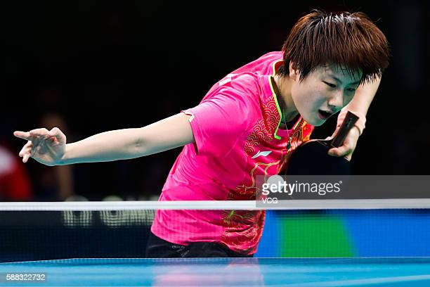 Ding Ning of China competes against Li Xiaoxia of China during the Women's Singles Table Tennis Final at the Riocentro venue on August 10 2016 in Rio...