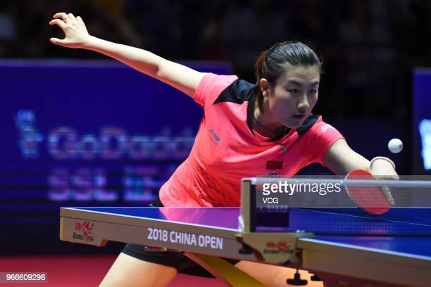 Ding Ning of China competes during women's singles final match against Wang Manyu of China on day four of the 2018 ITTF World Tour China Open at...