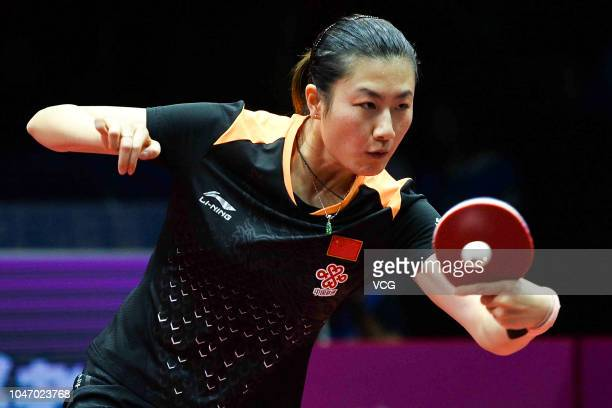 Ding Ning of China competes in the Women's Singles final match against Zhu Yuling of China on day three of 2018 ITTF Women's World Cup at Sichuan...