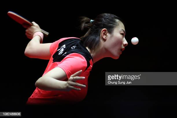 Ding Ning of China competes in the Women's Singles Quarterfinals against Cheng IChing of Taiwan during day two of the World Tour Grand Finals at...