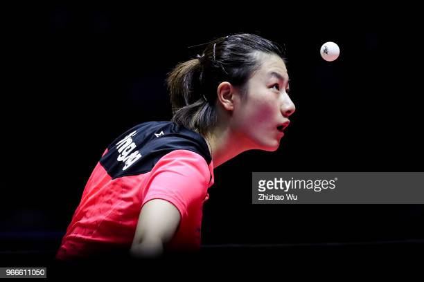 Ding Ning of China in action at the women's singles final compete with Wang Manyu of China during the 2018 ITTF World Tour China Open on June 3, 2018...