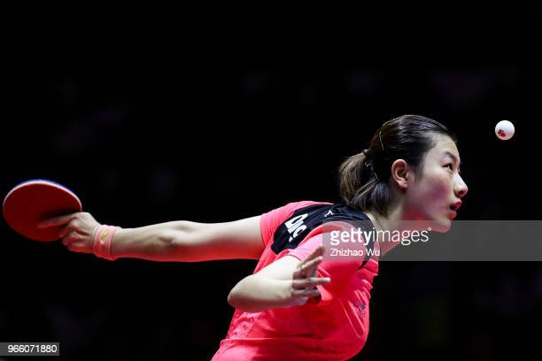 Ding Ning of China in action at the women's singles semifinal compete with Shibata Saki of Japan during the 2018 ITTF World Tour China Open on June 1...