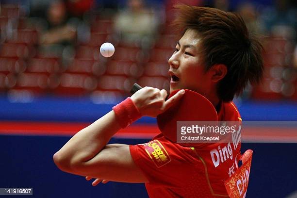 Ding Ning of China serves during her match against Gana Gaponova during the LIEBHERR table tennis team world cup 2012 championship division group A...