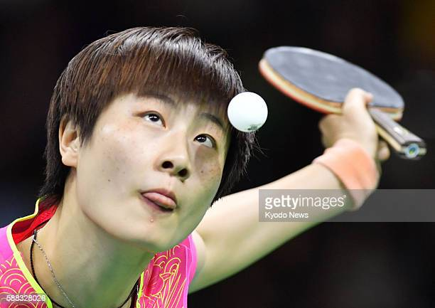 Ding Ning serves during her singles final against Chinese compatriot Li Xiaoxia at the Rio Olympics on Aug 10 2016 Ding won four games to three