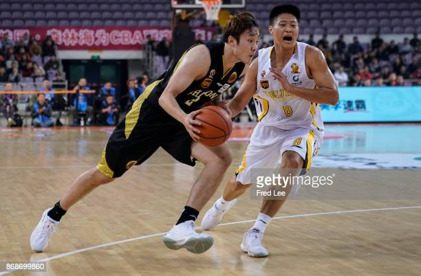 Ding Yanyuhang of ShanDong HiSpeed in action during the 2017/2018 CBA League match between Beijing Beikong Fly Dragons and ShanDong HiSpeed at...