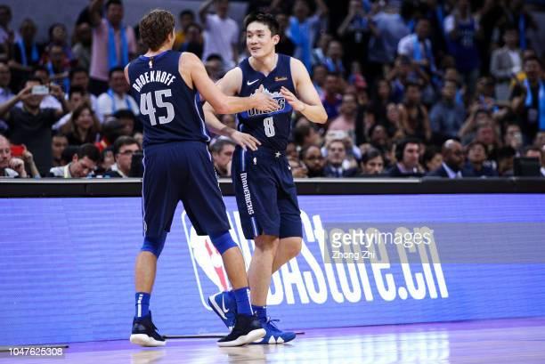 Ding Yanyuhang of the Dallas Mavericks substitutes during the 2018 NBA China Games match between the Dallas Mavericks and the Philadelphia 76ers at...