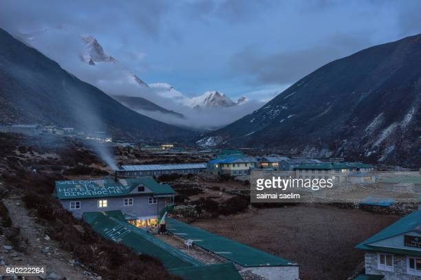 Dingboche village at the night time , Everest region