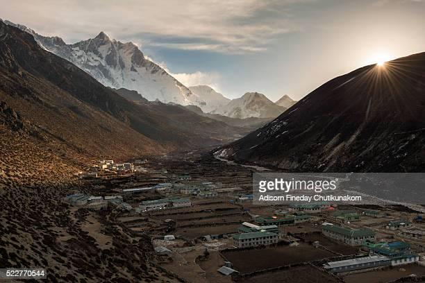 Dingboche village in the morning sunrise, Everest region