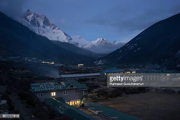 Dingboche village in the night, Everest base camp trek
