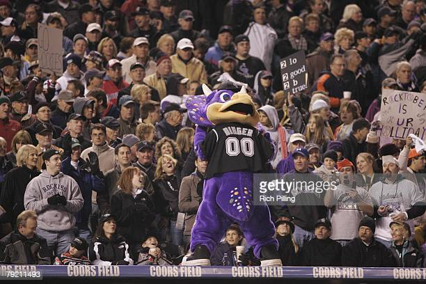 Dinger the Colorado Rockies mascot during Game Three of the 2007 World Series between the Boston Red Sox and the Colorado Rockies on October 28 2007...