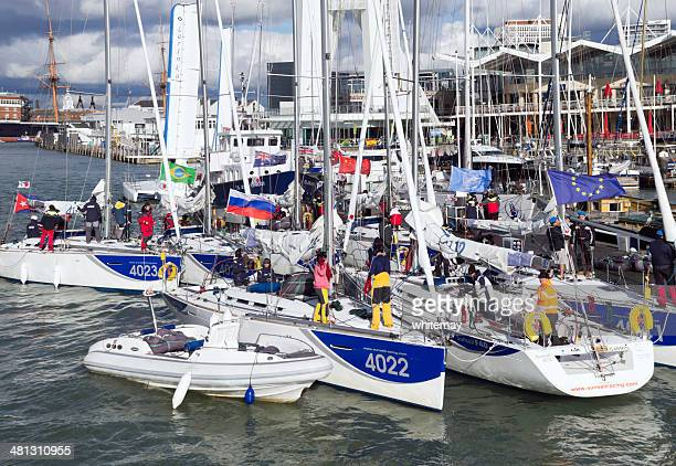 dinghies at gunwharf quays, portsmouth - spinnaker tower stock photos and pictures