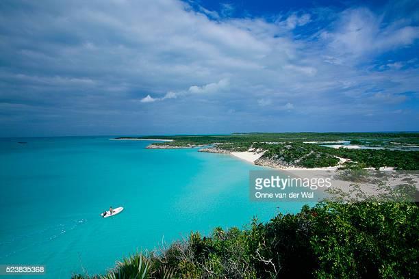Dinghy Heading Toward Remote Beach in Bahamas
