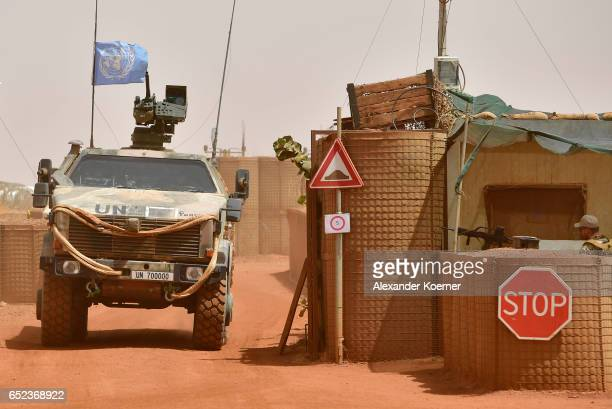 Dingo tank of the Bundeswehr the German armed forces enters Camp Castor after returning from a trainings mission on March 6 2017 in Gao Mali UNled...