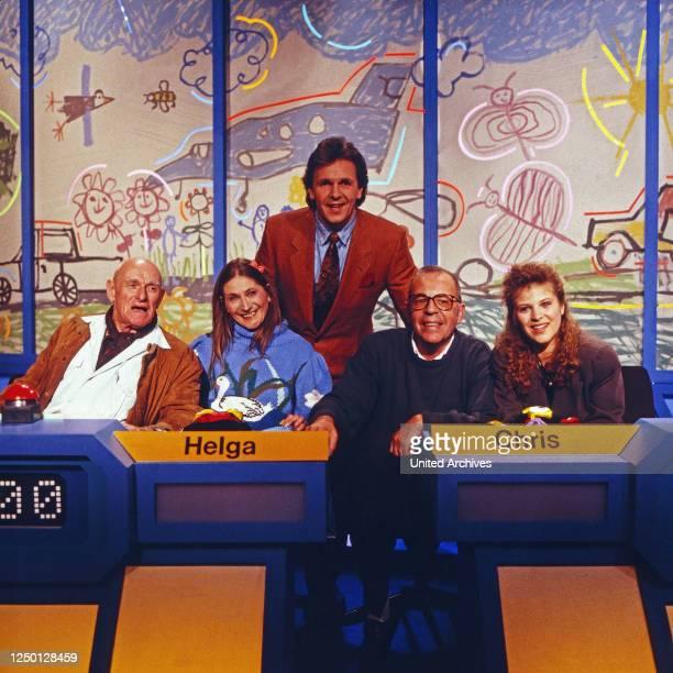 Dingsda, Show mit Fritz Egner, Deutschand 1980er Jahre, Rateteam: Benno Hoffmann, Helga Feddersen, Fritz Egner, Chris Howland, Nicki.